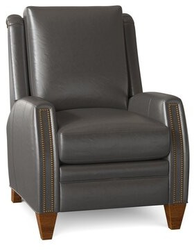 """Bradington-Young Lockhart 31"""" Wide Genuine Leather Manual Standard Recliner Body Fabric: Empyrean Charcoal, Leg Color: New Classiques, Nailhead Detail"""