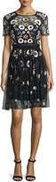 Needle & Thread Woodland Embellished Lace Dress, Black