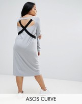 Asos Knitted Dress With V Neck And Strap Detail