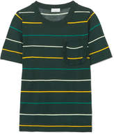 Sonia Rykiel Ruffle-trimmed Striped Silk And Cotton-blend Top - Dark green