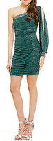 Jodi Kristopher One Sleeve Glitter-Accented Sheath Dress