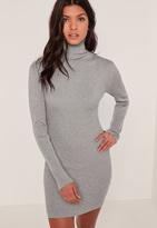 Missguided Grey Knit Turtle Neck Mini Dress