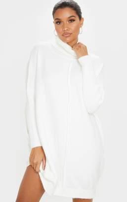 Mega Ivory Seam Front Funnel Neck Oversized Jumper Dress