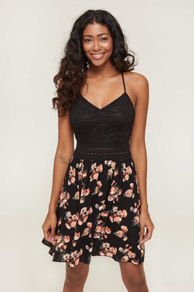 Ardene Lace and Floral Crepe A-line Dress