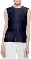 Go Silk Linen Button-Front Shell, Plus Size