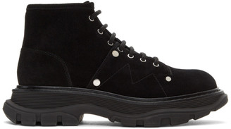 Alexander McQueen Black Suede Tread Lace-Up Boots