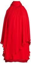 Halston Layered Flounce Halter Dress