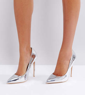 Lost Ink True Silver Sweetheart Cut Out Court Shoes
