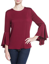 Milly 3/4-Bell Sleeve Stretch-Silk Top, Bordeaux