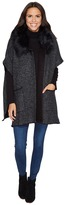 Steve Madden Thick Knit Topper with Flat Fur Collar Women's Clothing