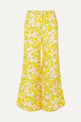 Faithfull The Brand Marise Cropped Floral-print Crepe Wide-leg Pants - Yellow