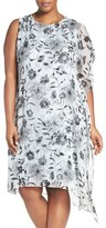 Vince Camuto Plus Size Women's Asymmetrical Overlay Floral Print Dress