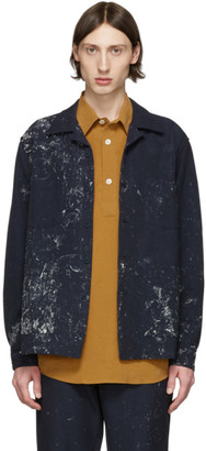 Schnaydermans Navy Painted Boxy Overshirt Jacket