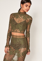 Missguided Khaki High Neck Lace Crop Top