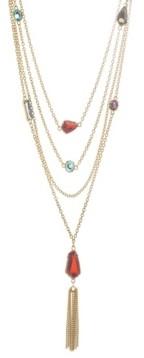Catherine Malandrino Women's Multicolored Geometric Rhinestone Yellow Gold-Tone Layered Rolo Chain Tassel Earrings