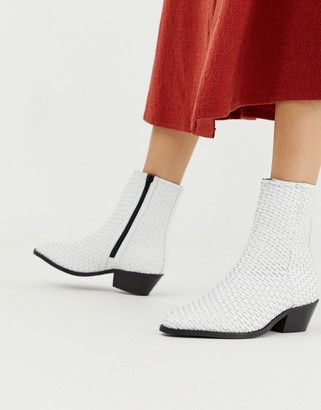 ASOS DESIGN Austin leather woven boots