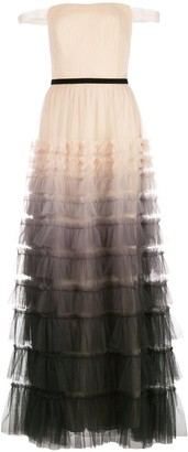 Marchesa Notte Tiered Ombre-Effect Evening Dress