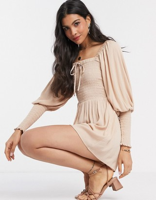 ASOS DESIGN romper with shirred bodice and sleeves in stone