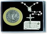 CA Gift CS123 Confirmation Pearl Rosary with Keepsake Box, Gift Set