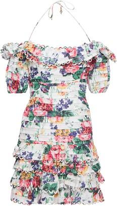Zimmermann Allia Off-the-shoulder Ruffled Pintucked Linen Mini Dress
