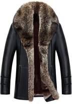 Jinmen Men Sheepskin Leather Jacket Parka Raccoon Fur Collar Warm Coats Outwear