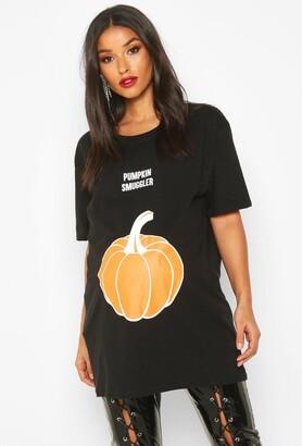 boohoo Maternity 'Pumpkin Smuggler' Halloween T-Shirt
