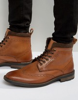 Dune Lace Up Brogue Boots Tan Leather