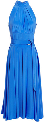 Diane von Furstenberg Pleated Silk Crepe De Chine Midi Dress