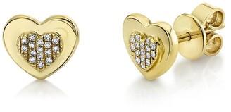 Ron Hami 14K Yellow Gold Diamond Heart Shape Stud Earrings - 0.06 ctw