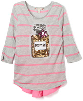 Speechless Gray & Pink Sequin Perfume Swing Tunic - Girls