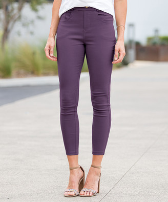 Amaryllis Women's Jeggings GRAPE - Grape Crop Faux-Button Pocket Jeggings - Women & Plus