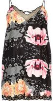 River Island Womens Plus black floral slip with lace detail