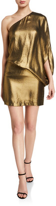 Halston One-Shoulder Metallic Drape Dress