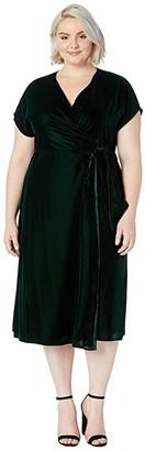 Lauren Ralph Lauren Plus Size Velvet Wrap Dress (Deep Pine) Women's Clothing