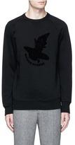 MAISON KITSUNÉ 'Airman' flocked velvet patch sweatshirt