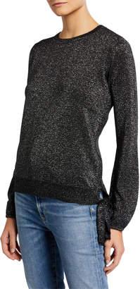 Max Studio Metallic Tie-Side Sweater