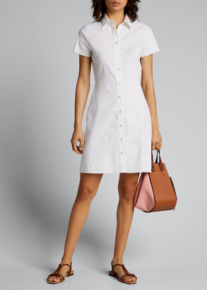Theory Button-Down Short-Sleeve Shirtdress