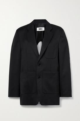 MM6 MAISON MARGIELA Twill And Melange Cotton-blend Jersey Blazer - Black
