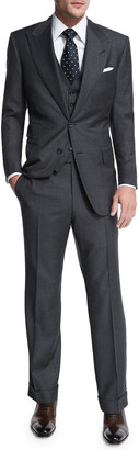 Tom Ford Windsor Base Sharkskin Three-Piece Suit, Charcoal