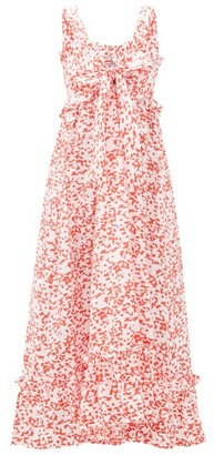 Thierry Colson Valentina Abstract-print Cotton Maxi Dress - Red