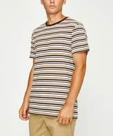 rhythm Everyday Stripe Short Sleeve T-shirt Panama Brown
