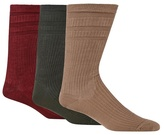 H.j.hall Pack Of Three Brown Tonal Ribbed Wool Blend 'softop' Socks