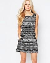 Iska Zip Detail Dress in Mixed Geo Print
