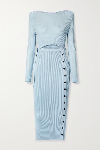 Self-Portrait Cutout Ribbed-knit Midi Dress - Sky blue