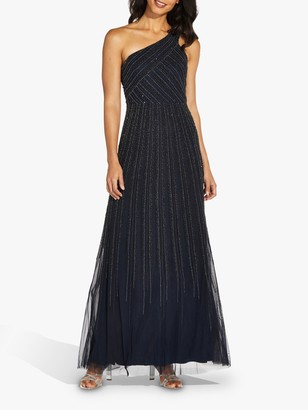 Adrianna Papell One Shoulder Embellished Maxi Gown, Midnight