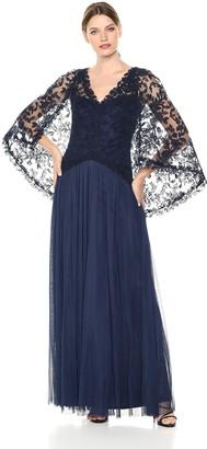 Tadashi Shoji Women's embrd lace Cape Gown