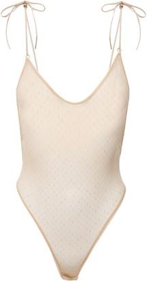 Le Petit Trou Apollonia Bow-detailed Point D'esprit Bodysuit