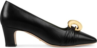 Gucci Leather mid-heel pump with half moon GG