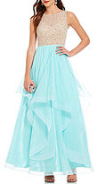 B. Darlin High Neck Beaded Illusion Bodice Open-Back Tiered Skirt Ball Gown