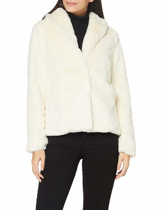 Yumi Women's Ivory Short Wrap Faux Fur Coat 12